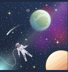 Astronaut in outer space flat composition vector