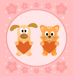 Background card with funny cartoon cat and dog vector