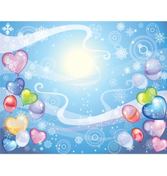Background with snowflakes and balloons vector image