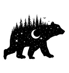 Bear with night forest vector