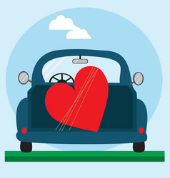 big red heart on the blue car vector image
