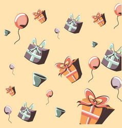 birthday gift boxes balloons decoration party vector image