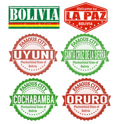 Bolivia cities stamps vector