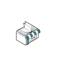 Bookshop building in isometric projection vector