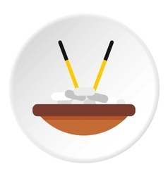 Bowl of rice with chopsticks icon flat style vector