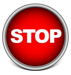 Button with word stop stop sign vector