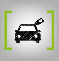 car sign with tag black scribble icon in vector image