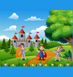 cartoon of prince with two knight on the road lead vector image