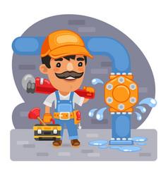 Cartoon plumber fixes a leak vector