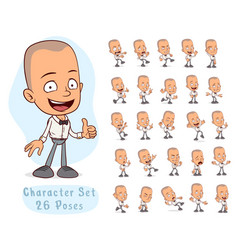 cartoon waiter boy big set for animation vector image
