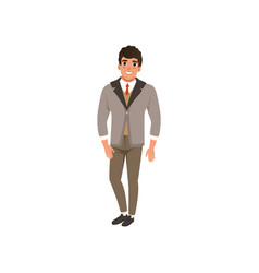 cheerful young man in fashion clothes vector image