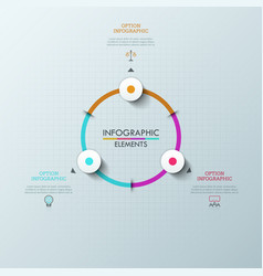 circular chart with 3 round elements arrows vector image