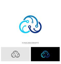 cloud tech logo design concept tech cloud logo vector image