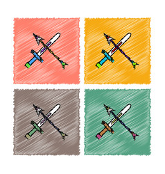 Collection of flat shading style icons sword vector