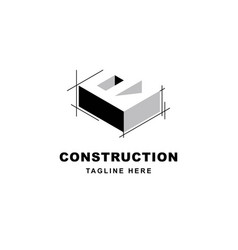 Construction logo design with letter r shape icon vector