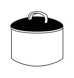 cooking pot with metal lid utensil vector image