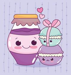 cute food macarons and jar with jam sweet dessert vector image