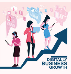 digitally business growth concept vector image