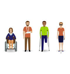 Disability people group of invalid men and women vector