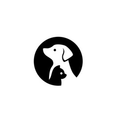 Dog cat pet logo icon negative space style vector