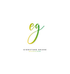 E g eg initial letter handwriting and signature vector