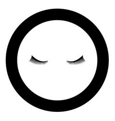 eyelash icon black color in circle round vector image