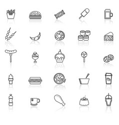 fast food line icons with reflect on white vector image