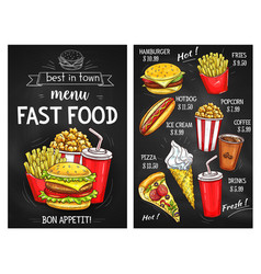 fast food menu price sketch template vector image