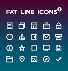 Fat Line Icons set 2 vector image