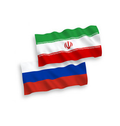 Flags iran and russia on a white background vector