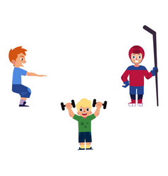 Flat boy kids doing sports set vector