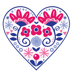 floral folk art heart design valentines day vector image