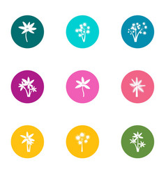 Flower day icons set flat style vector