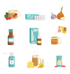 flu icons set alternative and traditional vector image