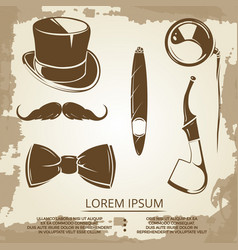 Getlemen style objects - cylinder bow tie vector