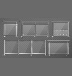Glass fence transparent fencing sections vector