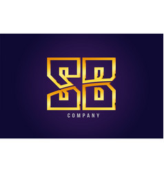 Gold golden alphabet letter sb s b logo vector