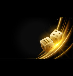 golden realistic dice and glowing lights vector image