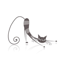 Graceful grey striped cat for your design vector