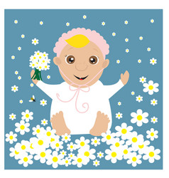 greeting card with baby in the flowers vector image