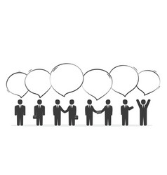group of business people with speech bubbles vector image