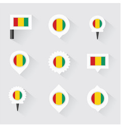 Guinea flag and pins for infographic and map vector