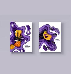 Halloween 3d papercut layered design witch vector