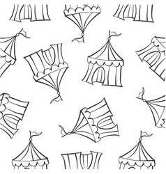 hand draw tent circus doodles vector image
