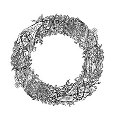 hand drawn wreath flowers vintage sketch vector image