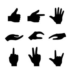 Hand icons set of 16 gesture symbols vector