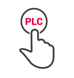 Hand presses the button with text plc vector