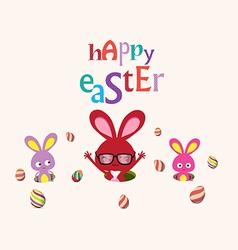 Happy Easter bunnies egg so cute vector