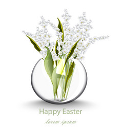 Happy easter card with lily of the valley floral vector