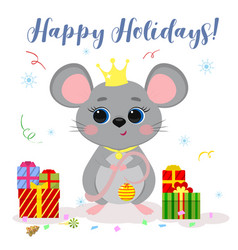 Happy new year and merry christmas cute mouse vector